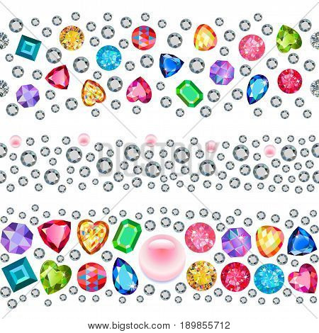 Rhinestones seamless background isolated on white background. Vector illustration