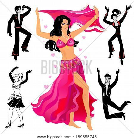 Full length front view grope of artists (dancers singers) isolated on white background. Vector illustration