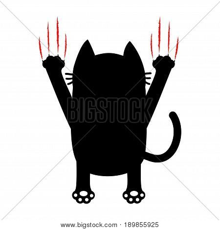 Cartoon black cat. Back view. Red bloody claws animal scratch scrape track. Cute funny character. White background. Isolated. Flat design. Vector illustration