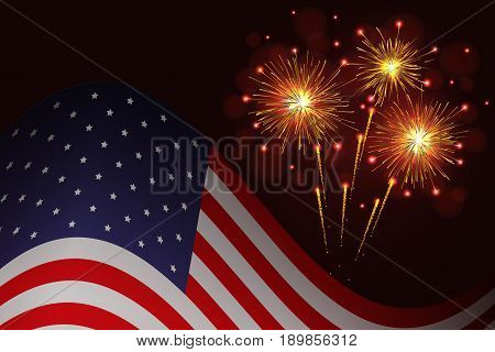 United States flag and celebration sparkling fireworks vector background. Independence Day 4th of July holidays salute greeting card.