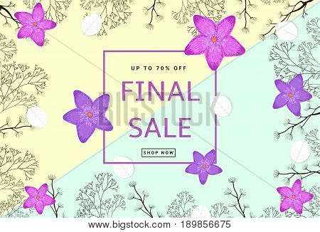 The colorful background with dark brown branches purple flowers white leaves. Final Sale poster banner.