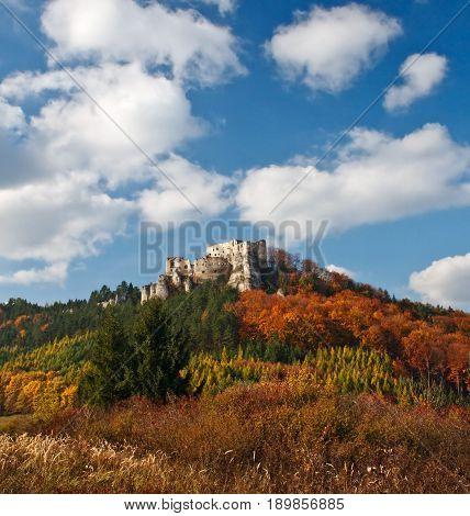 The ruins of a medieval castle Lietava near by Zilina town in autumn season Slovakia Europe