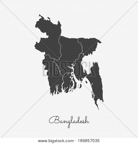 Bangladesh Region Map: Grey Outline On White Background. Detailed Map Of Bangladesh Regions. Vector