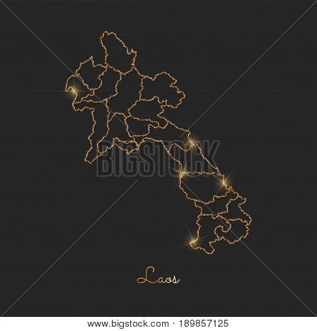 Laos Region Map: Golden Glitter Outline With Sparkling Stars On Dark Background. Detailed Map Of Lao