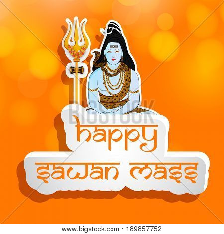 illustration of hindu god shiv with happy sawan mass text on Hindu sawan festival