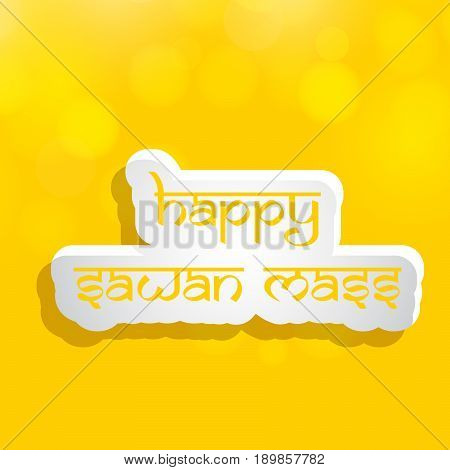 illustration of happy sawan mass text on hindu sawan festival