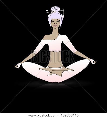 black background and abstract pink-haired girl in a meditation yoga