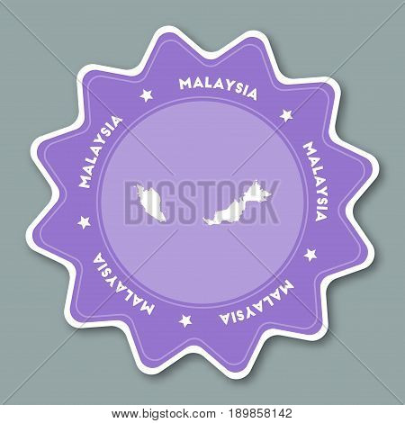Malaysia Map Sticker In Trendy Colors. Star Shaped Travel Sticker With Country Name And Map. Can Be