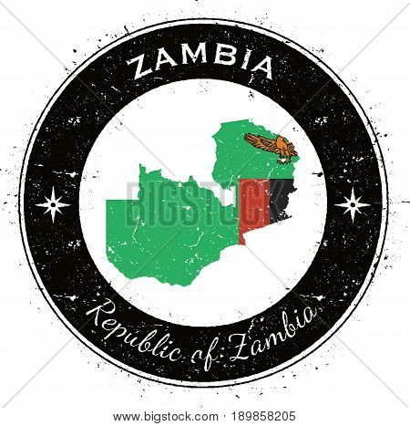 Zambia Circular Patriotic Badge. Grunge Rubber Stamp With National Flag, Map And The Zambia Written