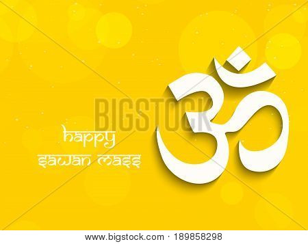 illustration of hinduism sacred sound Om in hindi language with happy sawan mass text on occasion of hindu festival sawan