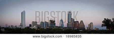 A nice evening in downtown Austin Texas as the sun goes down.
