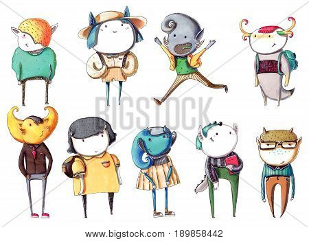 Set with hand drawn colorful monsters kids drawn like schoolkids with books rucksacks in casual clothes with smiling faces. Colorful drawing with characters standing and watching at viewer.