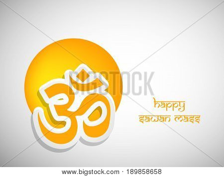 illustration of hinduism sacred sound Om in hindi language with happy sawan mass text on hindu sawan festival