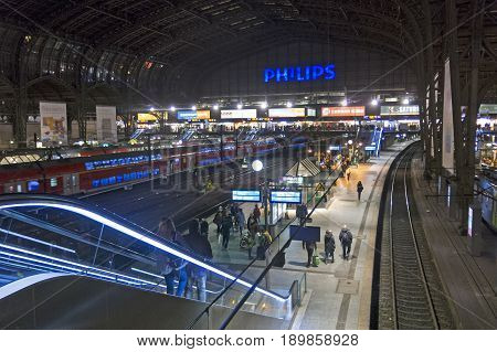 Interior Of Hamburg Central Railway Station. Germany
