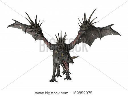 3D rendering of a fantasy spiky dragon isolated on white background