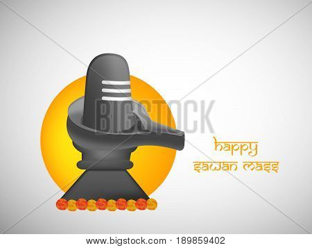 illustration of Shivling hinduism Symbol used for worship in hindu temples with happy sawan mass text on occasion of hindu  sawan festival