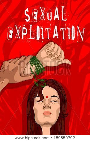Social Awareness concept poster for Stop Sexual Exploitation. Vector illustration