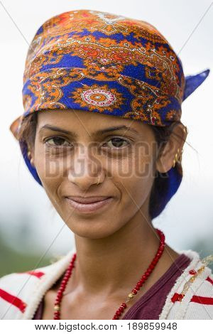 POKHARA NEPAL - OCTOBER 05 2016 : Portrait nepalese woman in traditional dress on the street Pokhara Nepal
