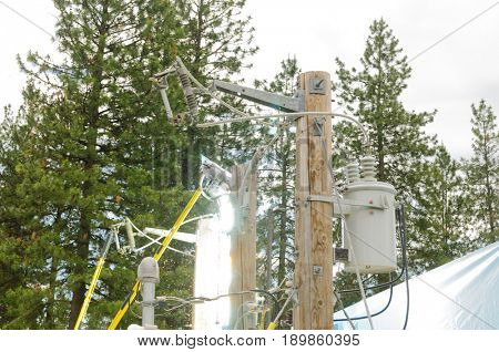 Mead, WA - June 3, 2017: Fire station 92 Wellness day demonstrations, Avista engineers showing dangers of high voltage electricity arcing