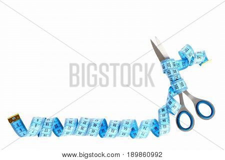 Tape For Measuring In Blue Colour Twisted Around Metal Scissors