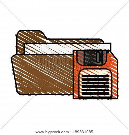 Floppy disk folder icon vector illustration graphic desing sketch