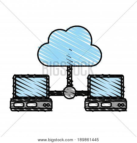 Computers sharing cloud illustration vector icon graphic design sketch