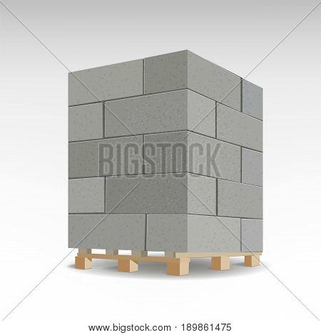 Aerated autoclaved concrete block. Isolated Foam concrete on pallets, vector illustration