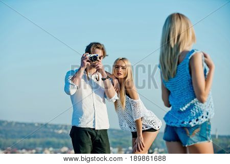 Friends On Photo Shoot During Summer Vacation