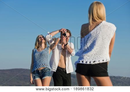 Happy Friends Photographing On Summer Vacation