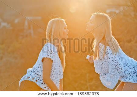 Lesbian Couple Of Twin Pretty Girls Flirting On Sunny Day