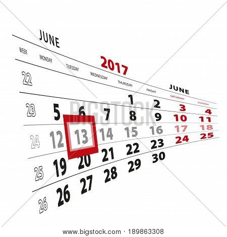 13 June Highlighted On Calendar 2017. Week Starts From Monday.