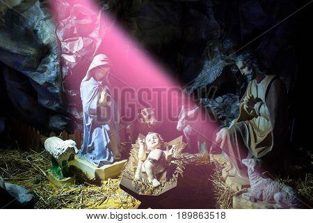 Christianity religion. Holy family. Christmas holidays celebration nativity scene