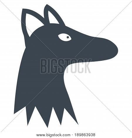 Smooth Blue Fox Head toolbar pictogram. Vector pictogram style is a flat symbol on diagonal hatch transparent background.