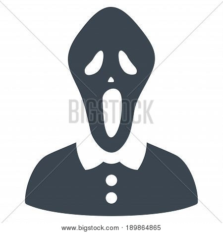 Smooth Blue Horror interface toolbar pictogram. Vector pictogram style is a flat symbol on diagonal hatch transparent background.