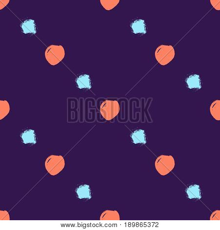 Vector seamless pattern with circles brush strokes. Colorful doodle polka dot art. Grunge background. Abstract hand drawn illustration.