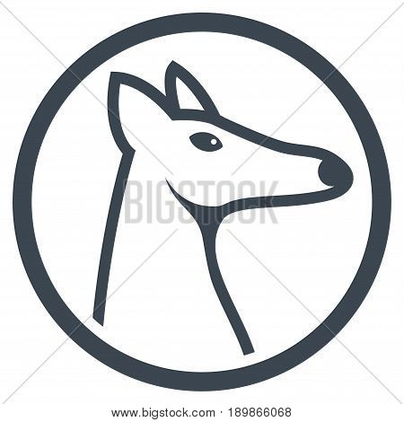 Smooth Blue Rounded Fox Head interface toolbar pictogram. Vector pictogram style is a flat symbol on diagonal hatch transparent background.