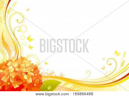 Autumn background with orange hydrangea flower, falling leaves, butterflies, abstract wave lines, swirls, grunge pattern, copy space for text. Elegant modern seasonal vector illustration.