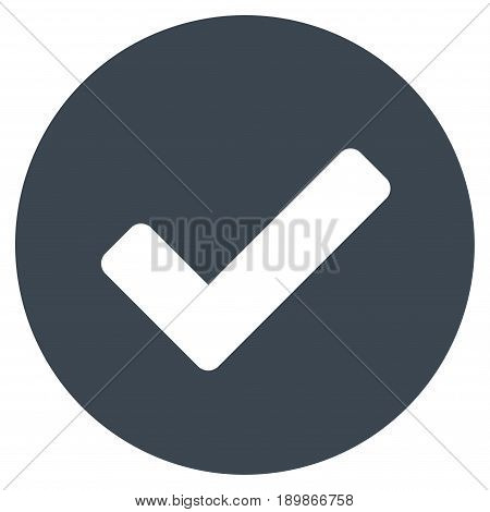 Smooth Blue Yes interface pictogram. Vector pictogram style is a flat symbol on diagonal hatch transparent background.