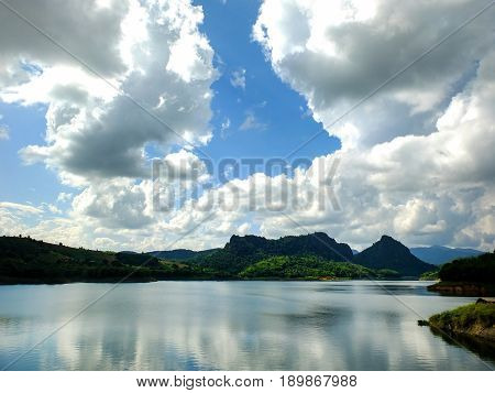 Beautiful mountain surrounded by water.Beautiful natural reservoir.