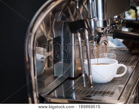 Coffee Machine Making Espresso shot Cafe Bar Restaurant