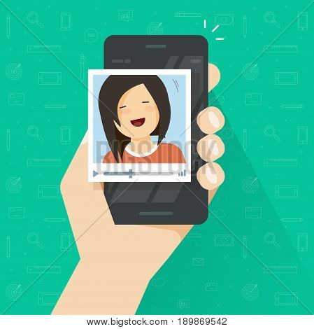 Video call on smartphone vector illustration, flat cartoon girl calling via mobile phone and video communication technology, cellphone and video player