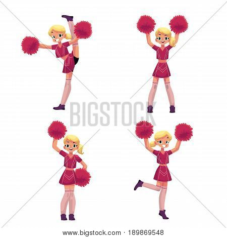 Pretty blond girl in cheerleader uniform with pompoms, cartoon vector illustration isolated on white background. Beautiful cheerleader girl dancing with pompoms, full length portrait