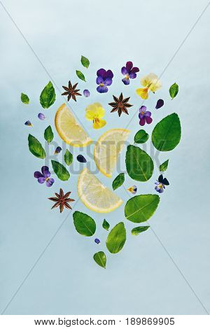 Summer Food and Drink - Fruit Lemonade Ingredient Pattern made of Lemon, Fresh Mint and Flowers. Splash Shape with Flying Drink Ingredient. Summer Fruit Drink Ingredient Concept. Flat Lay