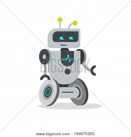 Root vector illustration flat cartoon style, friendly robotic droid character isolated on white background