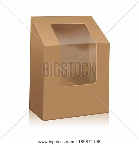 Vector Brown Blank Cardboard Triangle Box. Take Away Boxes Packaging Mock up For Sandwich, Food, Present, Other Products with Plastic Window for your design