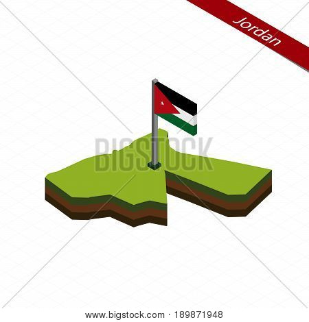 Jordan Isometric Map And Flag. Vector Illustration.