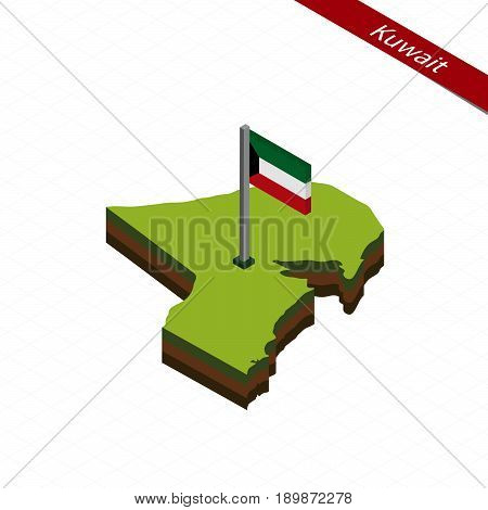 Kuwait Isometric Map And Flag. Vector Illustration.