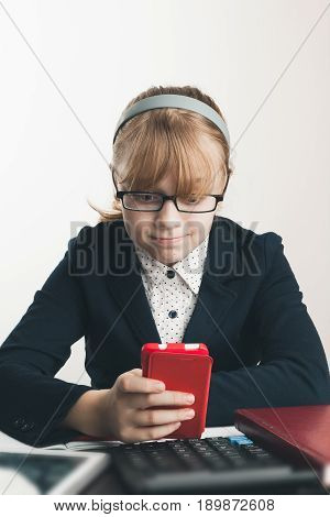 School Girl In Glasses With Smartphone, Closeup