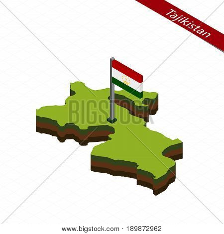 Tajikistan Isometric Map And Flag. Vector Illustration.