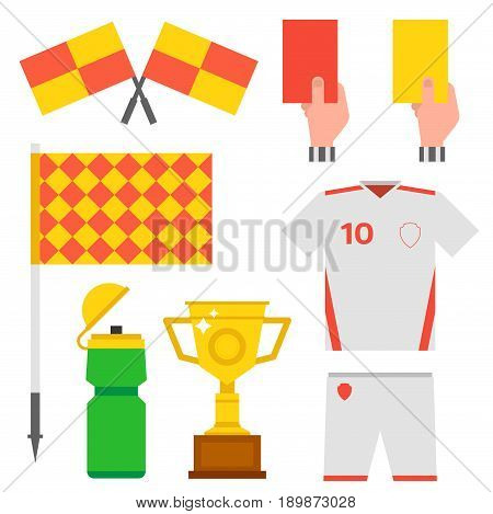 Football soccer icons player trophy competition web game team score win play flat design sport vector illustration. Referee championship stadium tournament symbols.